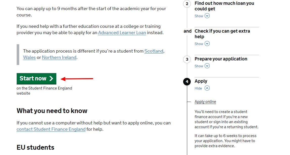 apply for student finance uk